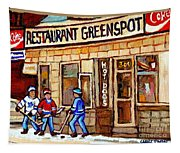 Hockey And Hotdogs At The Greenspot Diner Montreal Hockey Art Paintings Winter City Scenes Tapestry