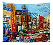 Hockey Art Montreal Winter Street Scene Painting Chez Vito Boucherie And Fairmount Bagel Tapestry
