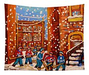 Hockey In The Laneway On Snowy Day Paintings Of Montreal Streets In Winter Carole Spandau Tapestry
