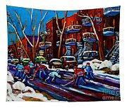 Hockey On De Bullion Montreal Tapestry