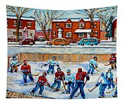 Hockey Rink At Van Horne Montreal Tapestry