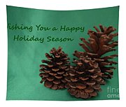 Holiday Pine Cones Tapestry