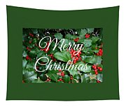 Holly Berries Merry Christmas Tapestry