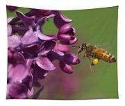 Honey Bee And Lilac Tapestry