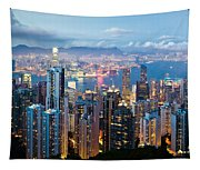 Hong Kong At Dusk Tapestry