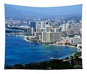 Honolulu And Waikiki From Diamond Head Tapestry