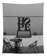 Hope And Chairs In Black And White Tapestry