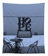 Hope And Chairs In Cyan Tapestry