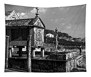 Horreo And Cruceiro In Galicia Bw Tapestry