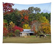 Horse And Barn In The Fall 3 Tapestry