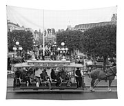 Horse And Trolley Main Street Disneyland Bw Tapestry
