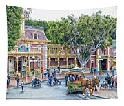 Horse And Trolley Turning Main Street Disneyland 01 Tapestry