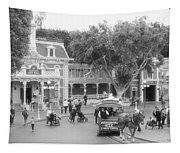 Horse And Trolley Turning Main Street Disneyland Bw Tapestry