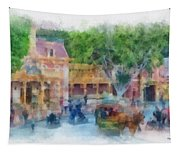 Horse And Trolley Turning Main Street Disneyland Photo Art 01 Tapestry
