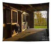 Horse Barn Sunset Tapestry