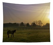 Horse Farm Sunrise Tapestry