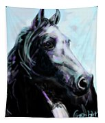 Horse Painted Black Tapestry