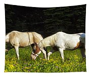Horses Among Wildflowers Tapestry