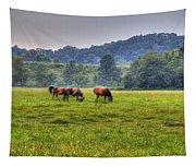 Horses In A Field 2 Tapestry