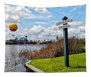 Hot Air Balloon And Old Key West Port Orleans Signage Disney World Tapestry