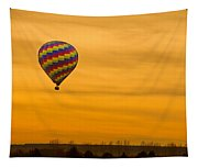 Hot Air Balloon In The Golden Sky Tapestry