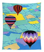 Abstract Hot Air Balloons - Ballooning - Pop Art Nouveau Retro Landscape - 1980s Decorative Stylized Tapestry