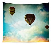Hot Air Baloons In Blazing Sky Tapestry