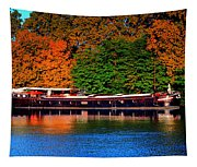 House Boat River Barge In France Tapestry