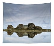 House In Between Rocks Reflected Tapestry