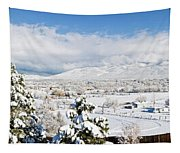 Houses And Trees Covered With Snow Tapestry