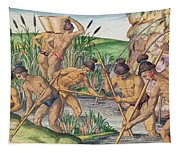How The Indians Collect Gold From The Streams Tapestry