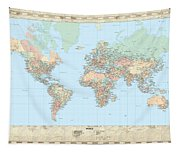 Huge Hi Res Mercator Projection Political World Map   Tapestry