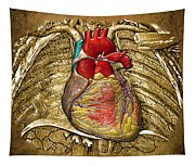 Human Heart Over Vintage Chart Of An Open Chest Cavity Tapestry
