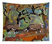 Hunters And Gemsbok Rock Art Tapestry