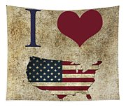 I Love Usa Grunge Texture Tapestry