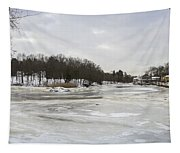 Ice On The Ipswich River Tapestry