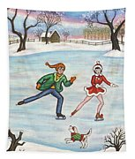 Ice Skaters Tapestry