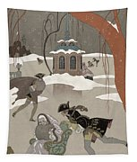 Ice Skating On The Frozen Lake Tapestry