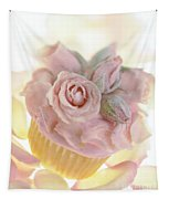 Iced Cup Cake With Sugared Pink Roses Tapestry