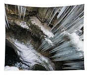 Icicles Hanging In Rocky Gorge In Cold Winter Tapestry