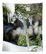 Icicles On Juniper Branch Tapestry