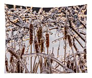 Icy Cattails Tapestry