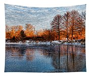 Icy Reflections At Sunrise - Lake Ontario Impressions Tapestry