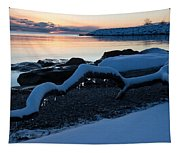 Icy Snowy Winter Sunrise On The Lake Tapestry