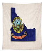 Idaho Map Art With Flag Design Tapestry