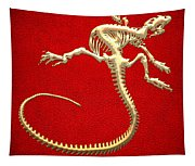 Iguana Skeleton In Gold On Red  Tapestry