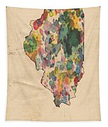 Illinois Map Vintage Watercolor Tapestry