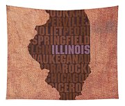 Illinois State Word Art On Canvas Tapestry