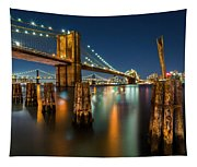 Illuminated Brooklyn Bridge By Night Tapestry