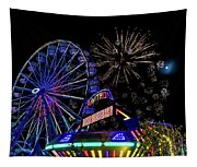 Illuminated Ferris Wheel With Neon Tapestry